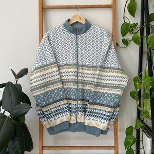 Vintage Katies Pastel Blue Reversible Knit Jacket